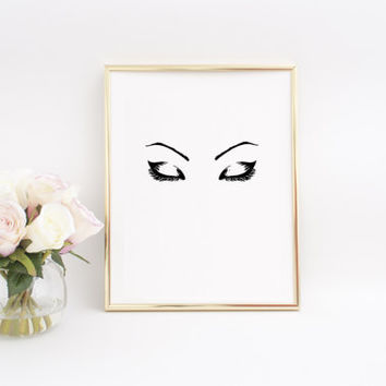 Eyebrows On Fleek,Makeup print,Eye lashes Print,Makeup Decor,fashion Poster,Fashion Art,Fashion wall art,Eyelash Print,Makeup Art,Teen Gift
