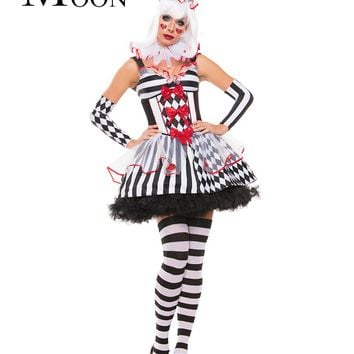 MOONIGHT New Woman's Halloween Costumes Circus Cosplay Disfraces Circus Woman Clown Costumes Actress