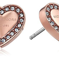 Michael Kors Rose Gold Tone Signature Heart Stud Earrings