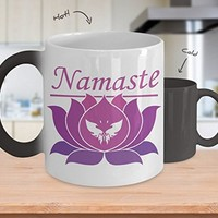 Namaste Pink Butterfly Lotus Blossom Color Changing Mug