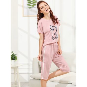 Pink Cat Print Pajama Set