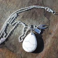 "Howlite Charm Necklace on Silver-plated 24"" Chain for Inner Peace, Self-Awareness, and Increased Creativity"