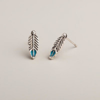 Silver Feather Stud Earrings - World Market