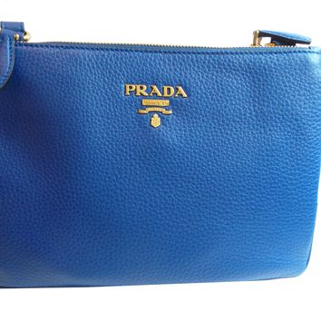 Prada Women's Royal Blue Vitello Phenix Leather Crossbody 1BH046