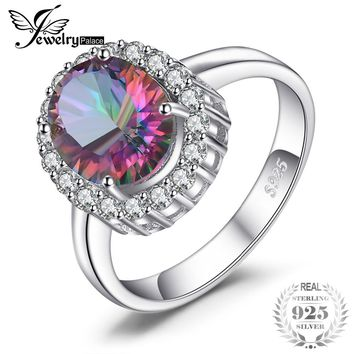 3ct Natural Mystic Fire Rainbow Topaz Engagement Wedding Ring Women Solid Genuine 925 Sterling Silver  New Fine Jewelry Hot
