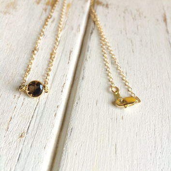 Stunning 14k Gold Smokey Quartz (6mm) Cabochon Necklace ~ All Pieces are 14k Gold