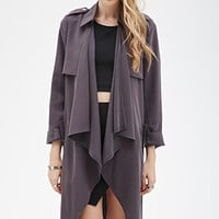 Longline Draped Open-Front Jacket