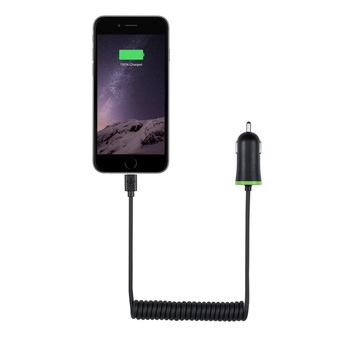 Belkin BOOST↑UP Coiled Car Charger with Built-In Lightning Connector