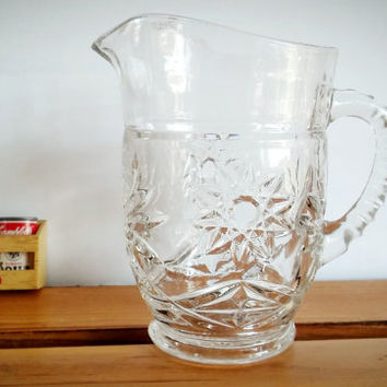 Anchor Hocking Prescut Glass Syrup Pitcher, Anchor Hocking Glassware EAPG