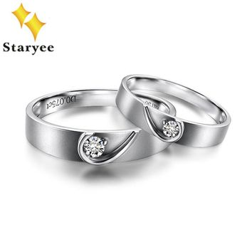 Staryee 18K Pure White Gold His and Hers Lovers 0.14Ct Diamond Engagement Ring Set Men/Women