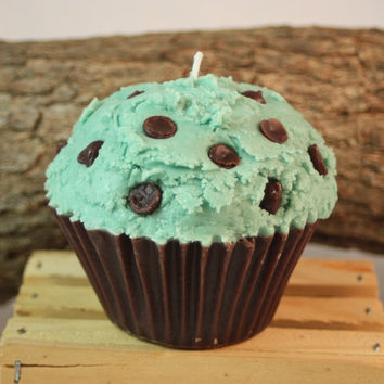 Cupcake Candles, Jumbo Mint-Chocolate Chip Cupcake Candle, Fake Food