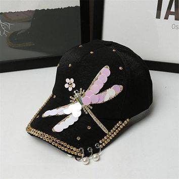 Top Quality Dragonfly Decoration Baseball Snapback Caps For Women Iron Rings casquette de baseball Ladies Sun Hats Adjustable