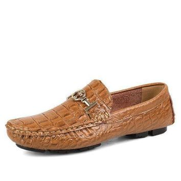 Hot Sale Crocodile Style Men Loafers, Genuine Leather Men Flats, Fashion Men Moccasin