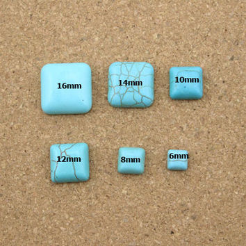 10pcs lot 6 8 10 12 14 16mm Half Square Blue Turquoise Flatback Cabochons Beads DIY Natural Stone Beads Jewelry Findings Making