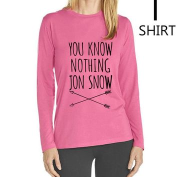 """Pink and Black """"You Know Nothing Jon Snow"""" Women's long sleeve T shirts"""