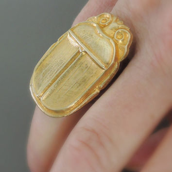 Vintage Ring - Scarab Ring - Egyptian jewelry - Gold Ring - Statement Ring - Adjustable Ring - handmade jewelry