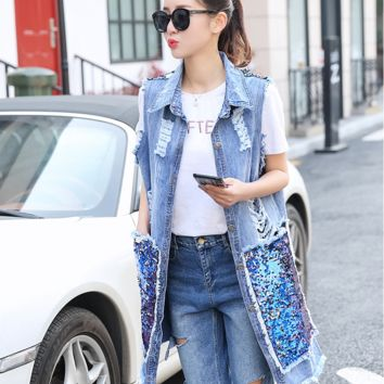 2017 New Holes Back Sleeveless Spring Summer Tanks Sequins Large Pockets Women Long Vintage Denim Jacket
