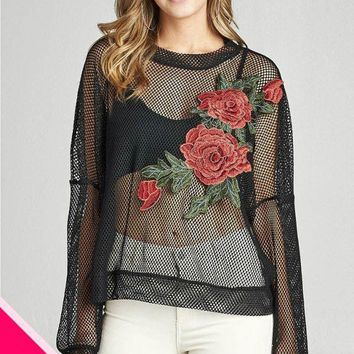 Plus size long sleeve floral patched sheer fishnet top
