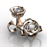 14k rose gold diamond unique floral Stud Earrings ERN-302_3.