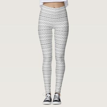 Lace Pattern Stripes | Grey and White Lace Design Leggings