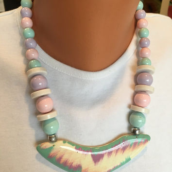 Vintage Lightweight Pastel Bead Necklace with Unusual Focal Pendant - Pink, Lavender, White, and Light Blue Bead Necklace