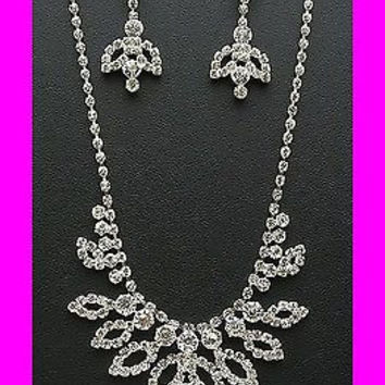 Bling Clear Crystal On Silver Tone Bridesmaid Bridal Evening Necklace Earring
