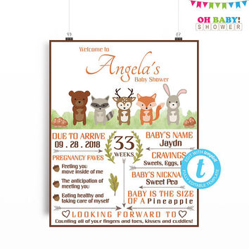 Woodland Baby Shower Welcome Sign, Woodland Baby Shower Poster, Welcome Sign Template, Woodland Welcome, Printable Sign, 16x20 Digital WD01