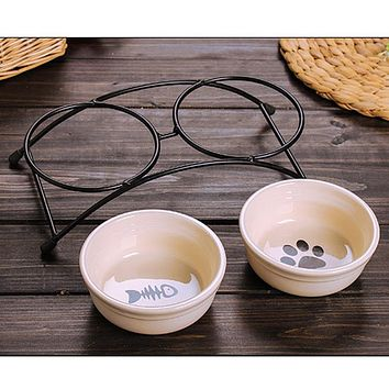 double ceramics dog cat puppy pet bowl print fish and paw food dish non slip food
