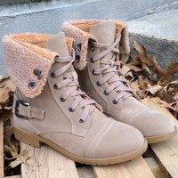 Cambridge Beige Fur Cuff Lace Up Boots