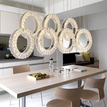 Restaurant crystal chandelier table three rectangular simple modern dining room chandelier fashion bar table LED lighting lamps