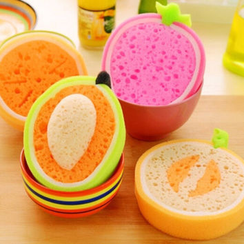 Creative Fruit Thick Sponge Cloth Strong Decontamination Washing Cloth Washing Towel Non Stick Oil Sponge Kitchen items BH024