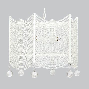 3 Light Crystal Swag Chandelier - White