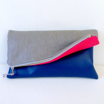 Silver, Hot Pink & Navy Reversible Evening Wedding Statement Clutch: Blue Vegan Leather Vinyl, Large Fold Over, Bridesmaid Bridal Gift