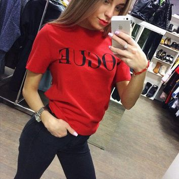 Women Blouses 2019 Fashion Summer Short Sleeve Blouse Shirt VOGUE Letter Print Shirt Casual O-neck Women Tops Blusas Femininas