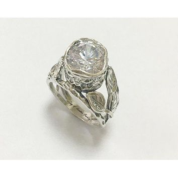 A Flawless Handmade Bezel Set 3.6CT Round Cut Lab Diamond Engagement Ring