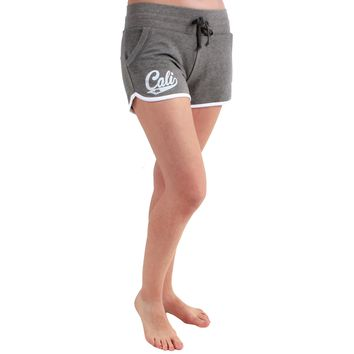 Cali Bear Logo Track Shorts in Vintage Coal