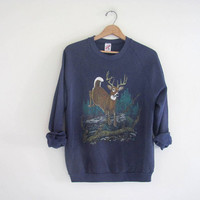 vintage blue Deer sweatshirt.