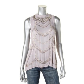 Free People Womens Beaded Open Back Tank Top