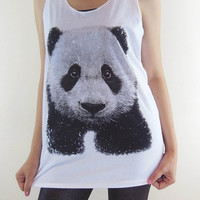Panda Shirt -- Panda Cute Animal Design Animal Shirt Women Shirt Women Tank Top Tunic Sleeveless Panda Shirt White T-Shirt Size M