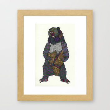 Technicolor Grizzly Bear - Marker Art Framed Art Print by Mad Dope | Society6