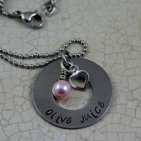 """Hand Stamped """"Olive Juice"""" Stainless Steel Necklace"""
