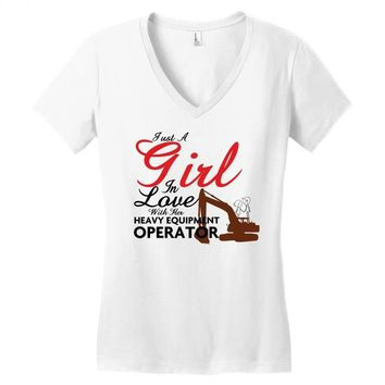 Just A Girl In Love With Her Heavy Equıpment Operator Women's V-Neck T-Shirt