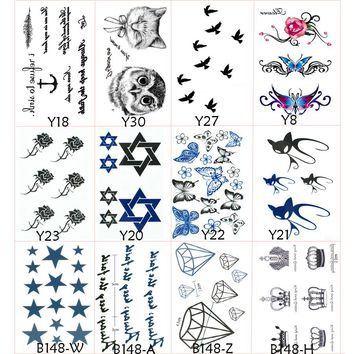 12Pcs Removable Fake Stickers On The Body Art Waterproof Temporary Tattoos Stickers for Women Metallic Tattoos Henna Stickers