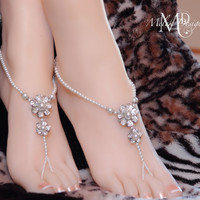 White Pearl Rhinestone Flower Beaded Bridal Barefoot Sandals