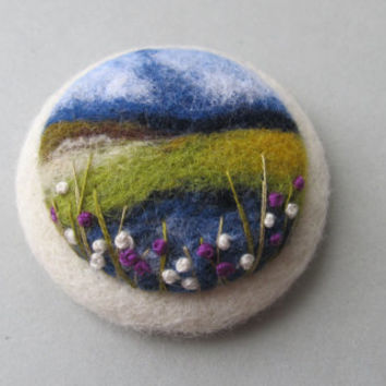 Needle felted brooch with embroidery,Wool felt brooch,Flower brooch,Gift ideas,For her,felted landscapes