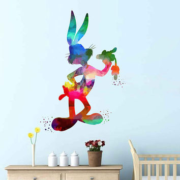 kcik2027 Full Color Wall decal Watercolor Character Disney Sticker Disney children's room Bugs Bunny rabbit