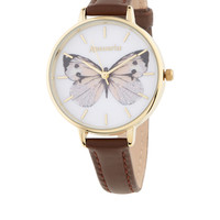 Butterfly Printed Face Leather Watch | Multi | Accessorize
