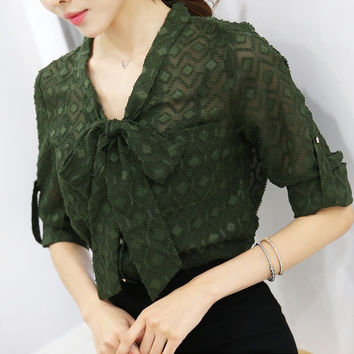 Bow Collar Women Blouse Thin Chiffon Shirt Transparent Elegant Women Shirt Long Sleeve Hanging Autumn Tops Plus Size S-XXL T6728