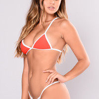 Coast Guard Ribbed Bikini Top - Red