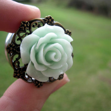 "Pair of Rose Plugs on Antique Brass Floral Filigrees - MORE COLORS! - Handmade Girly Gauges - 3/4"", 7/8"""